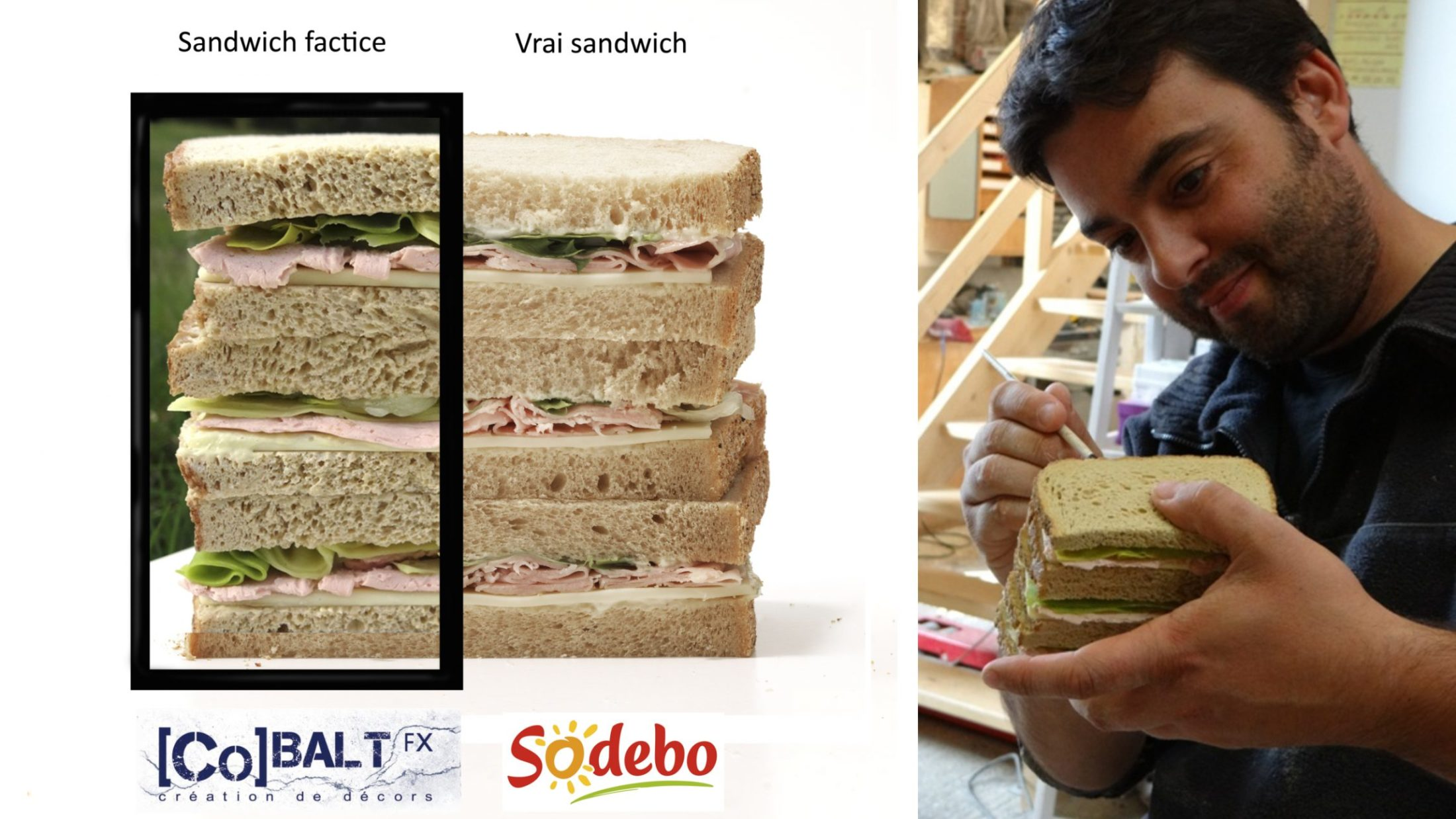 travail de réalisation de sandwich factice avec comparaison vrai et faux
