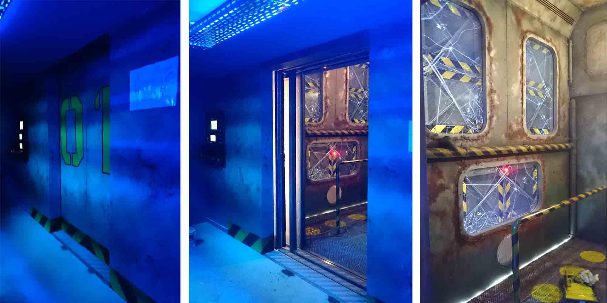 travail de patine décor sur une cabine d'attraction cinétique Abyssal Descender réalisée par CL Corporation