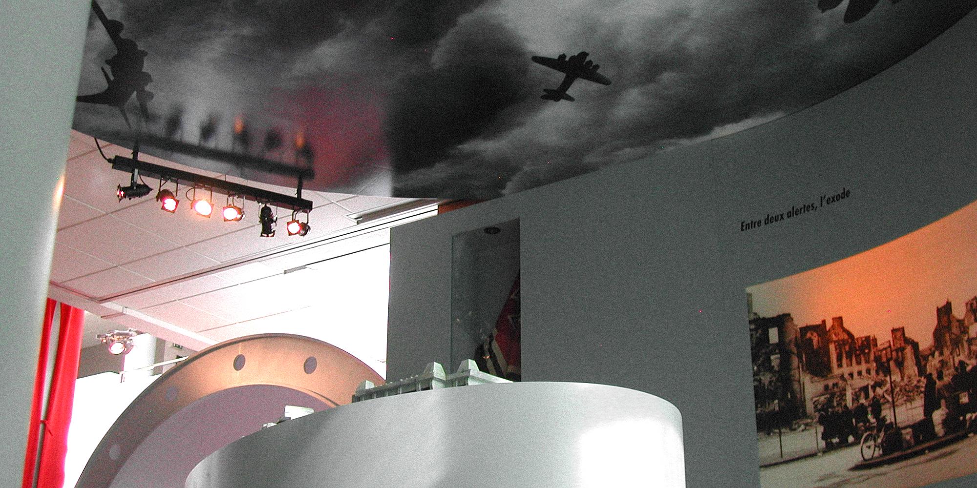 Plafond imprimé tendu pour scénographie d'exposition