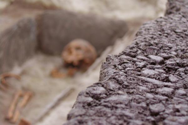 détail de l'effet de texture goudron décor en résine