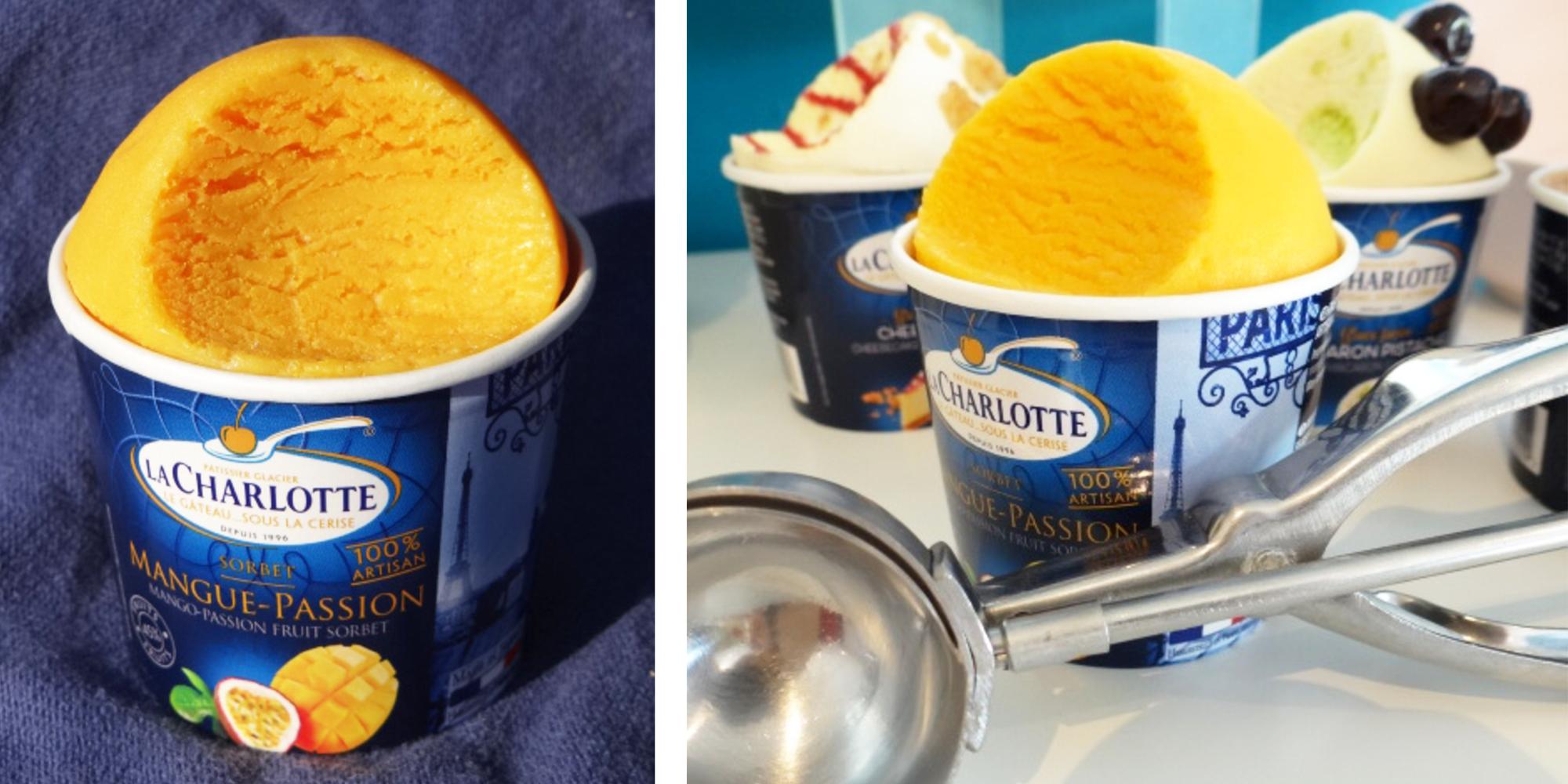 factices de boules de glaces en pot réalisés en résine pour la collection gourmande La Charlotte du Groupe Senoble