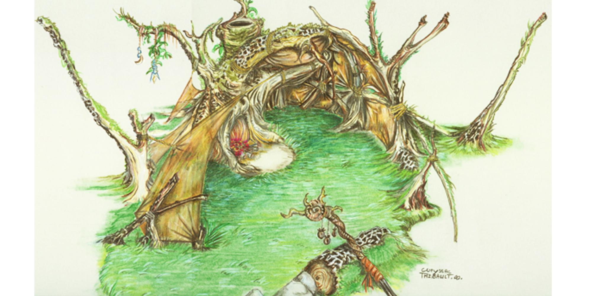 croquis d'un décor de scène de hutte végétale primitive