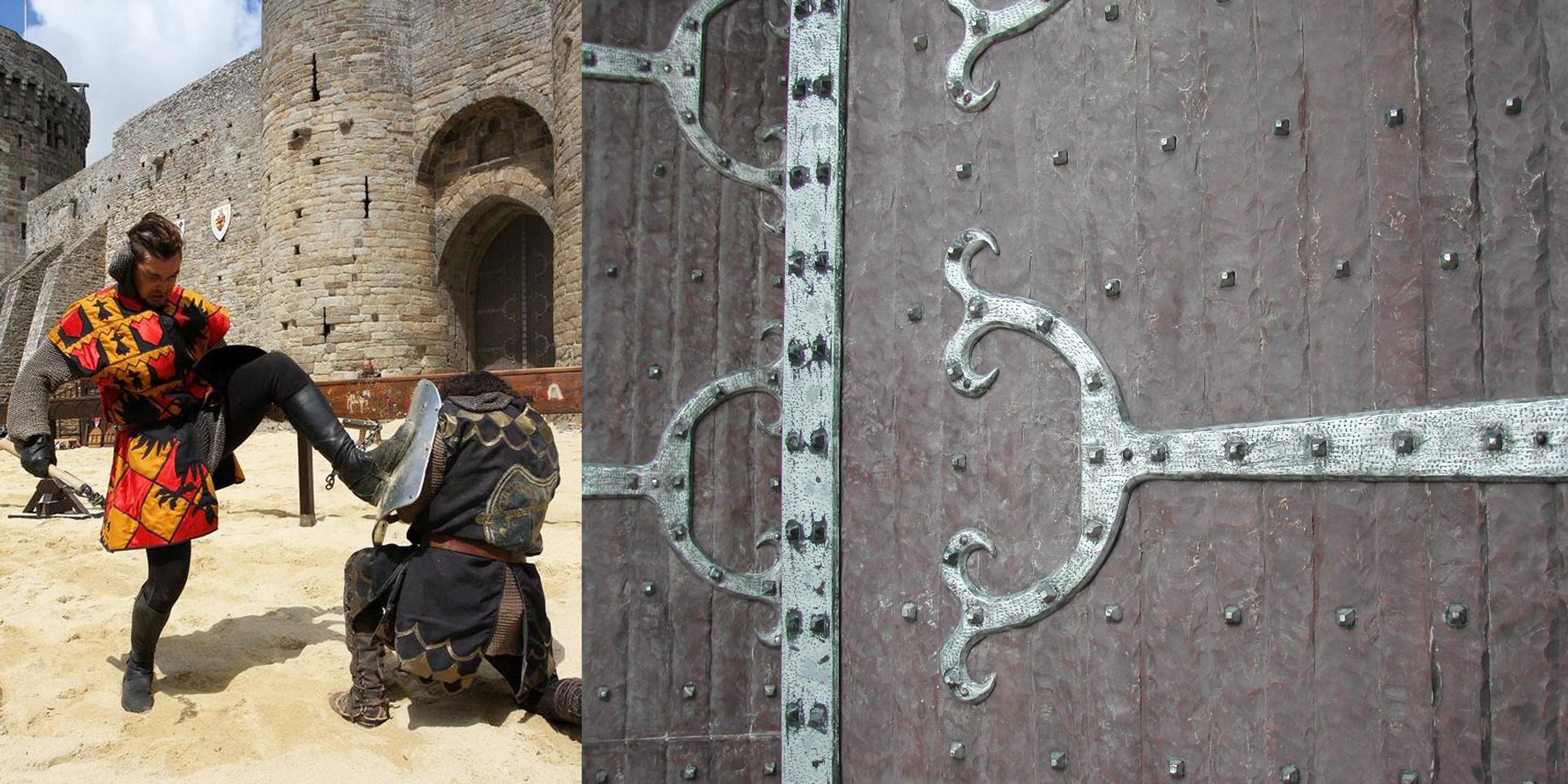 decor de portes medievales pour la fete des remparts de Dinan fabriquées par l'Atelier Cobalt Fx