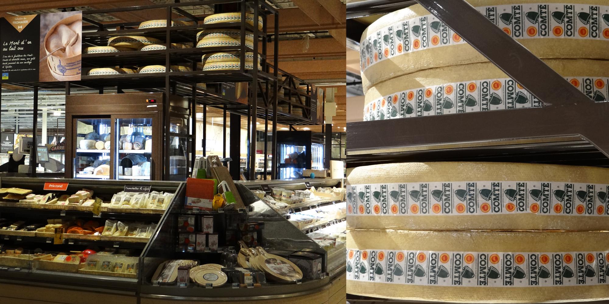 le factice alimentaire de fromage made by Cobalt Fx comme décor et animation d'un rayon d'hypermarché Carrefour