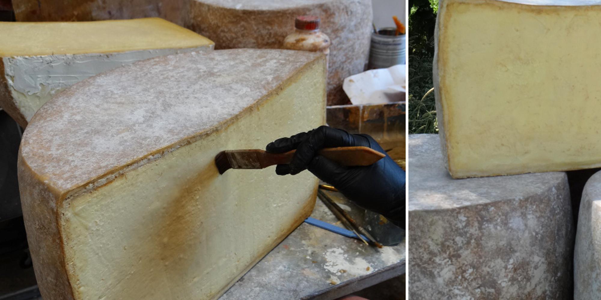 étape de travail de création de factice alimentaire de fromage
