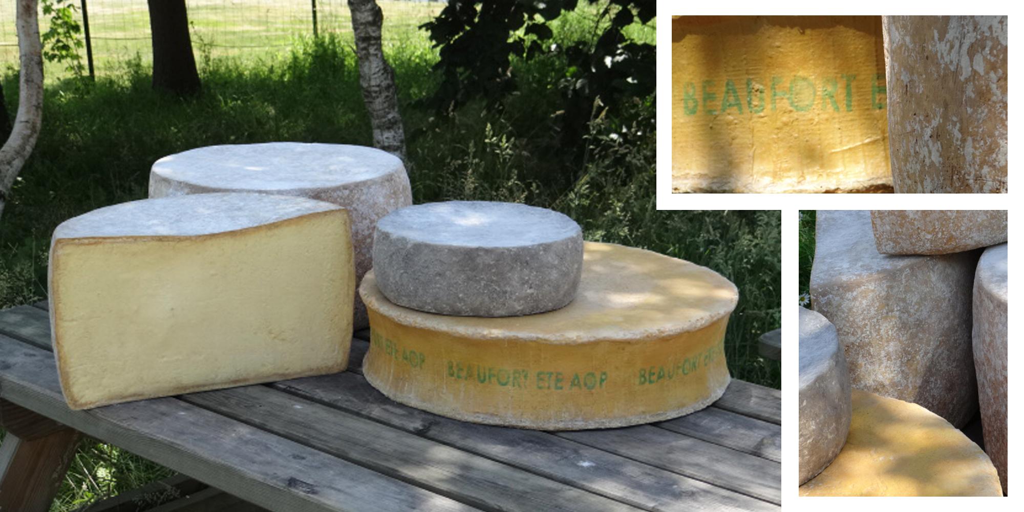 vue d'ensemble et gros plan de fromages factices réalisés en résine pour décor de vitrine, stand, marché