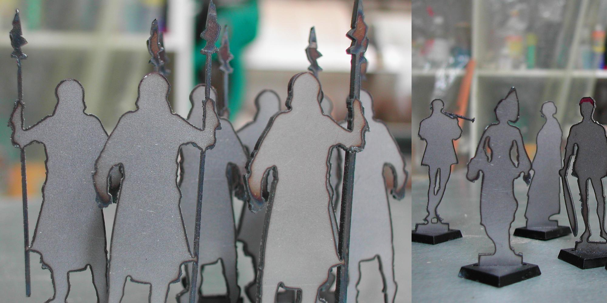 figurines en acier découpe laser pour maquette d'exposition