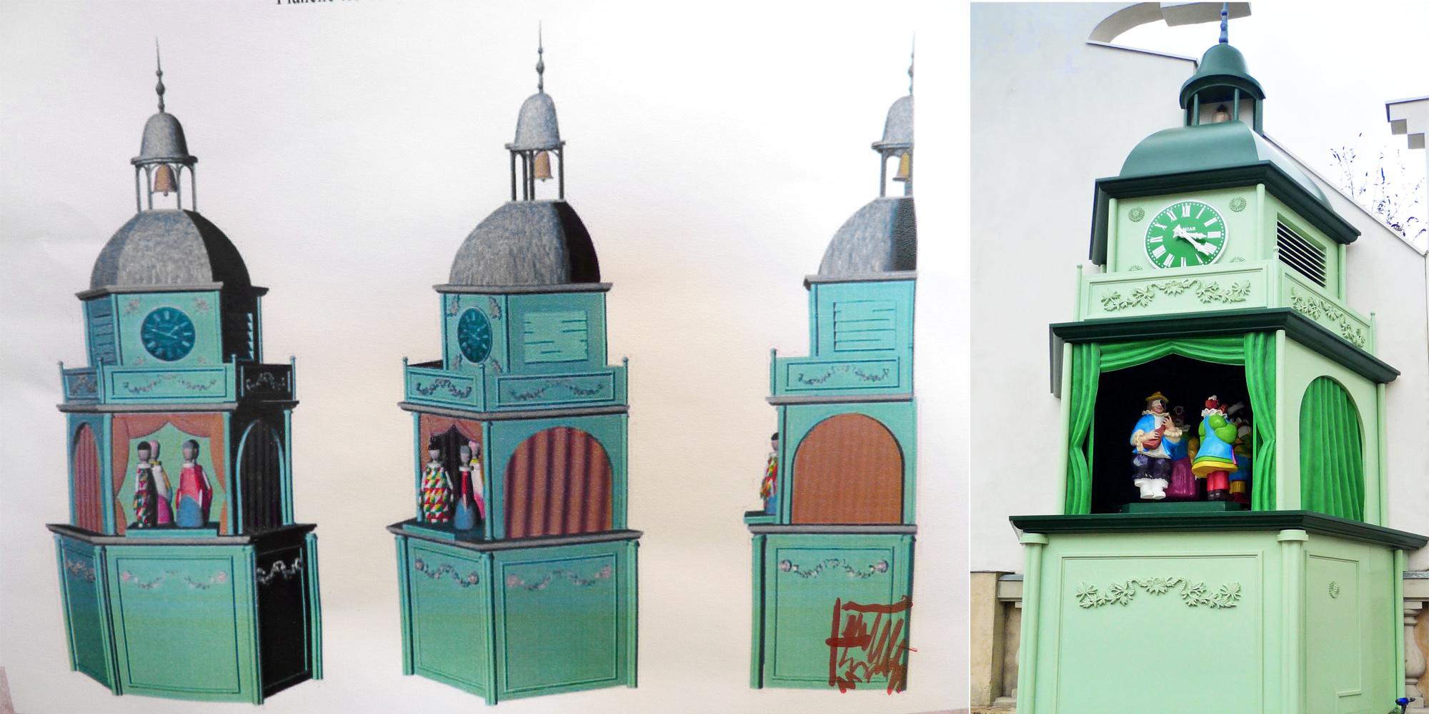 vous pouvez comparer le croquis et la réalisation finale du décor de kiosque,colonne morris animée