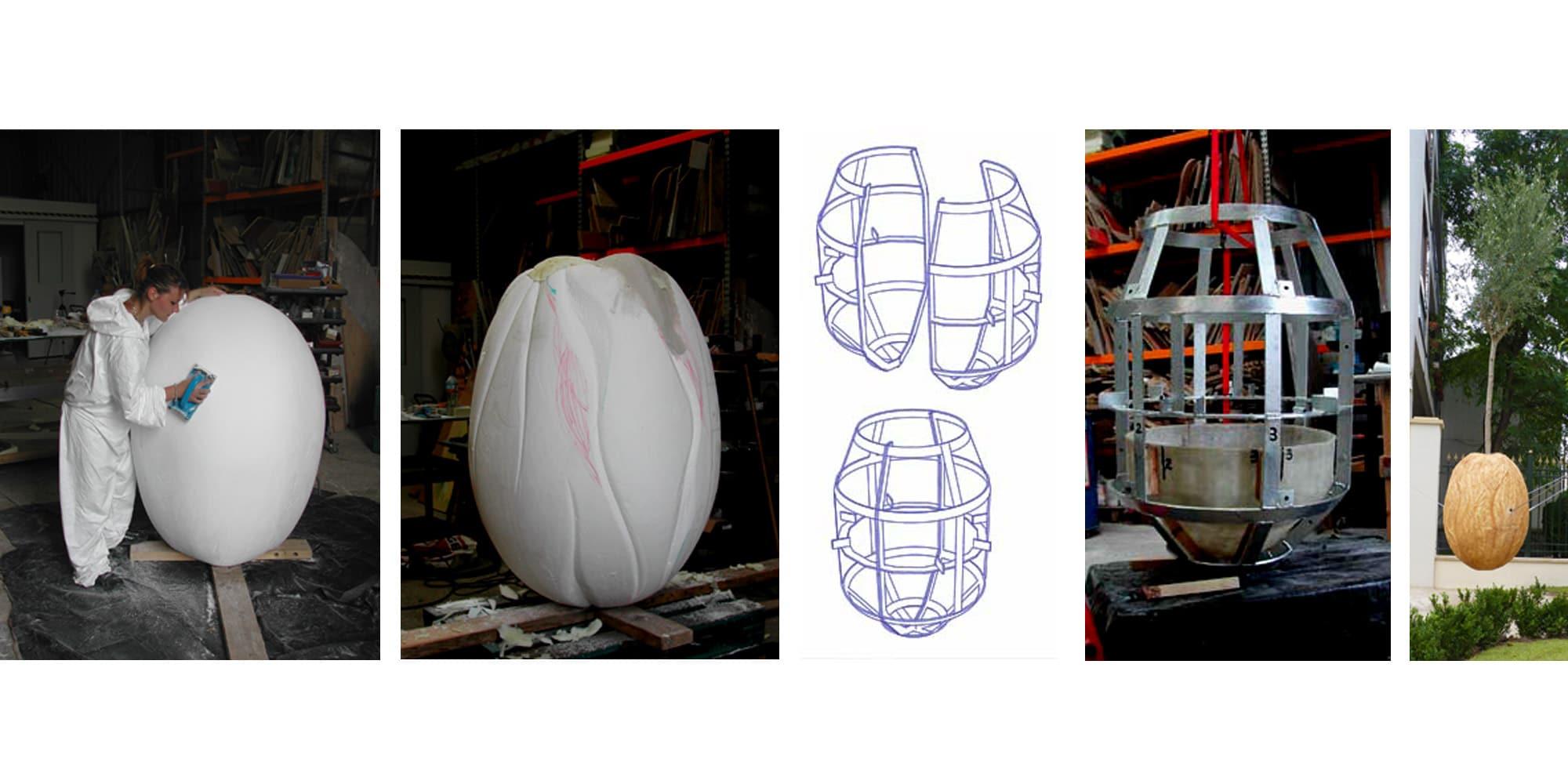 création d'une sculpture suspendue avec étapes de sculpture et de travail de structure métallique