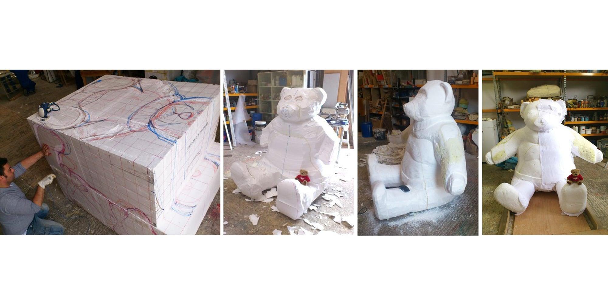 étapes de sculpture sur polystyrène de l'ours surdimensionné