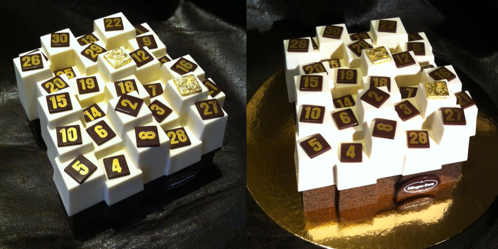 calendrier de l'avent glacé design de chez Haagen-Dazs sculpté en résine par l'Atelier Cobalt Fx