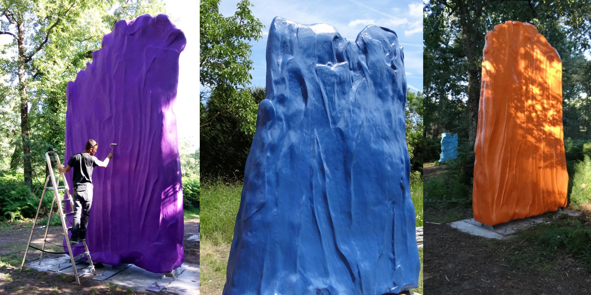 3 sculptures, 3 couleurs