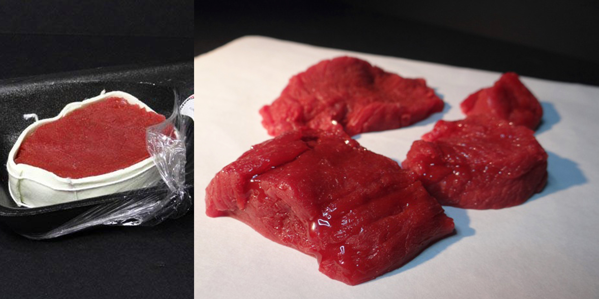 factices alimentaires en résine de viande de boeuf en morceaux ou en tournedos