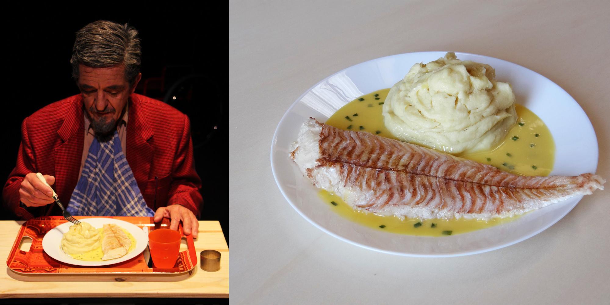 Accessoire de scène pour le théâtre : création d'un plat factice de type cantine filet de poisson avec purée au beurre