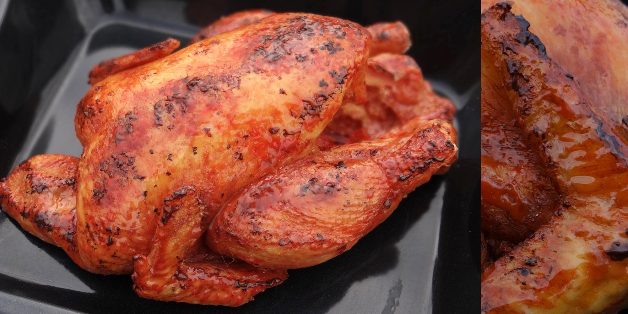 faux poulet rôti factice fait à la main en résine par l'Atelier Cobalt Fx
