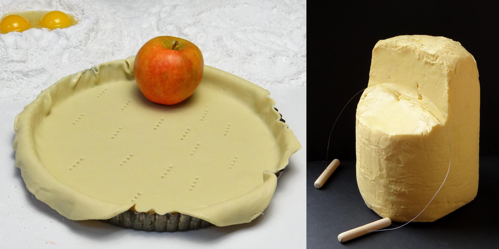 factice alimentaire de motte de beurre et pâte à tarte crue - La Pomme également est fausse