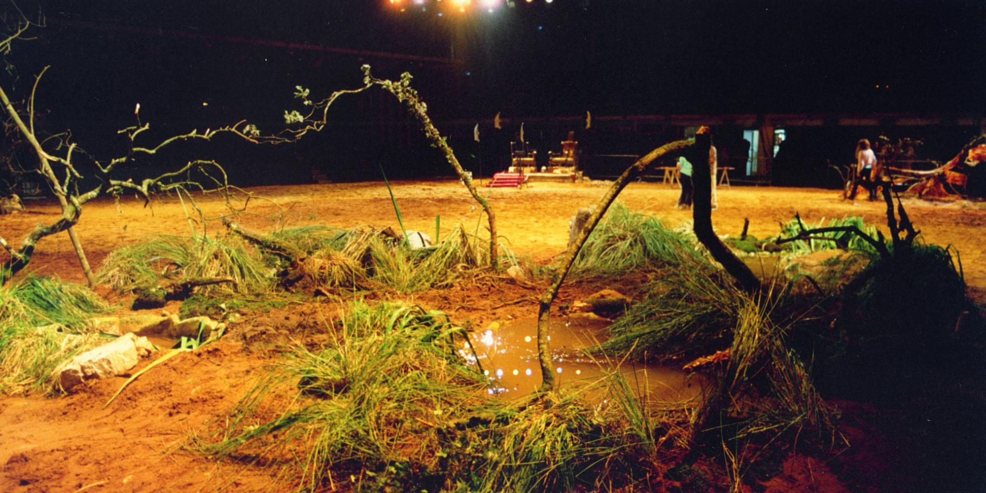 Décor de scène entre construction et assemblage végétal