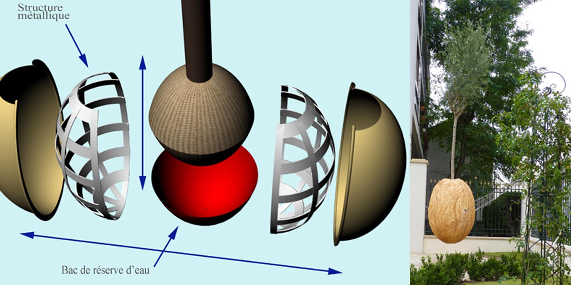 structure métallique et croquis de la sculpture végétale pour extérieur de graine d'arbre suspendue