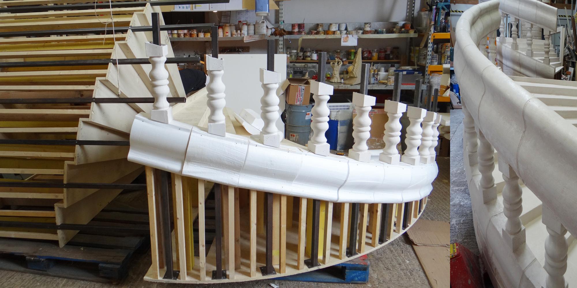 détail de la structure bois et métal du décor de scène du show case de la comédie musicale Les 3 Mousquetaires