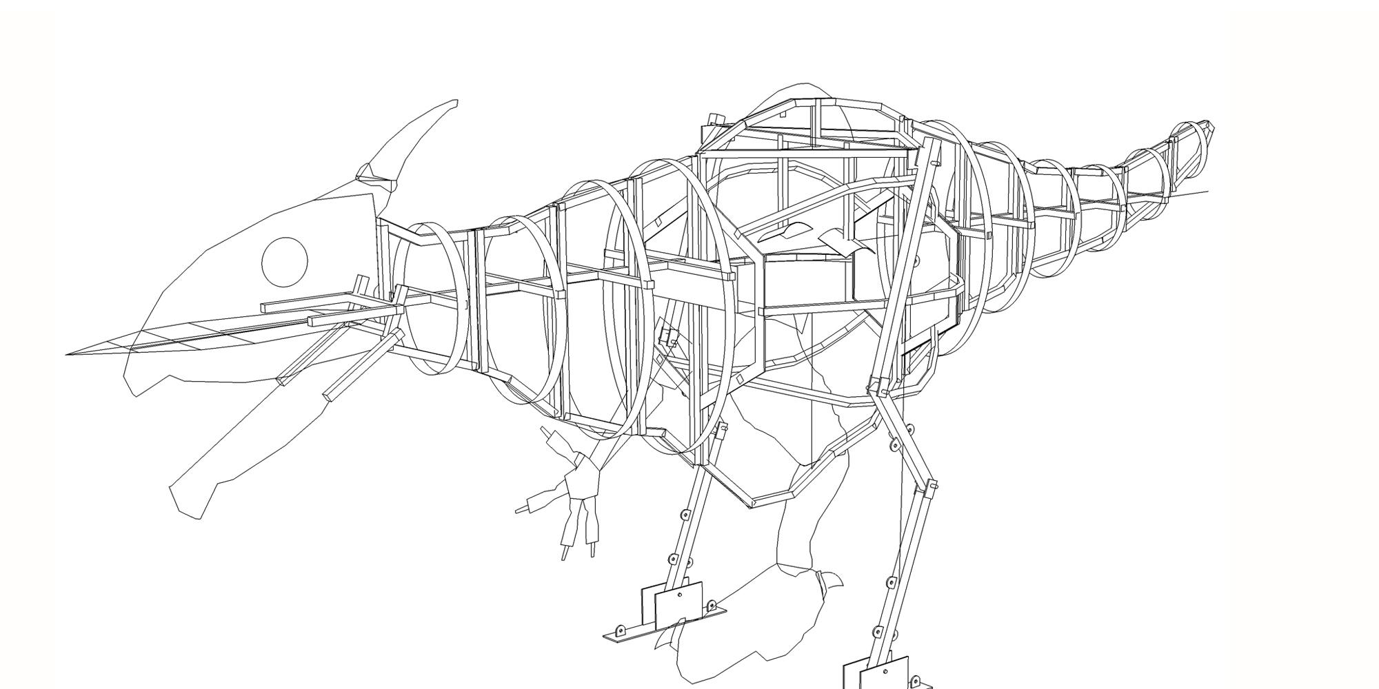 travail préparatoire de création des plans du squelette métallique armature de la sculpture de dragon