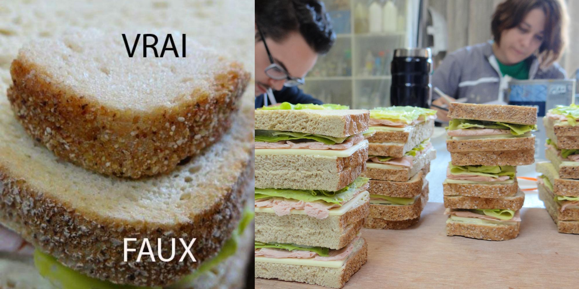 étape de travail de réalisation de factices alimentaires de sandwichs en résine à l'Atelier COBALT Fx avec comparaison du vrai et faux pain de mie